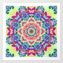 Whimsical floral kaleidoscope with butterflies by walstraasart