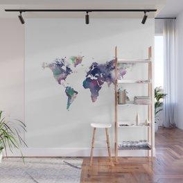 Watercolor World Map Wall Mural