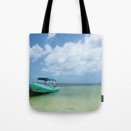 Blue Boat, Blue Skies Tote Bag