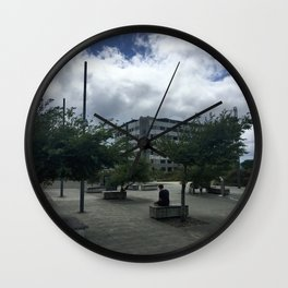 Lone Person In The City Wall Clock