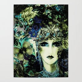 ART DECO FLAPPER COLLAGE POSTER PRINT 70S ROSES BIRDS BUTTERFLIES LADY Poster