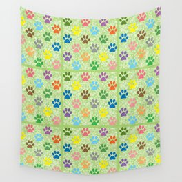 Colorful paw prints Wall Tapestry