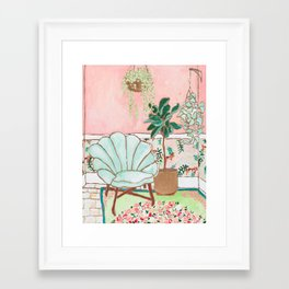 Art Deco Velvet Mint Shell Chair in Jungle Room with Tigers Framed Art Print