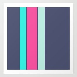 A great harmony of Independence, Barbie Pink, Bright Light Blue and Pale Aqua vertical stripes. Art Print