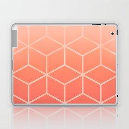 Living Coral Gradient - Geometric Cube Design Laptop & iPad Skin