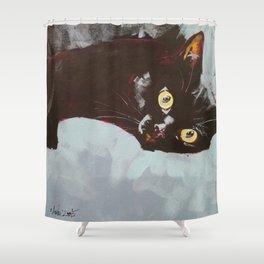 Black Cat Etude II Shower Curtain