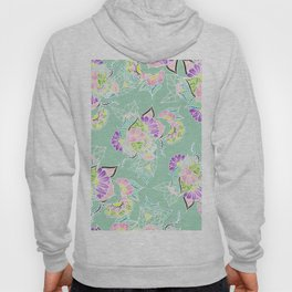 Modern bright spring pastel floral watercolor illustration Hoody