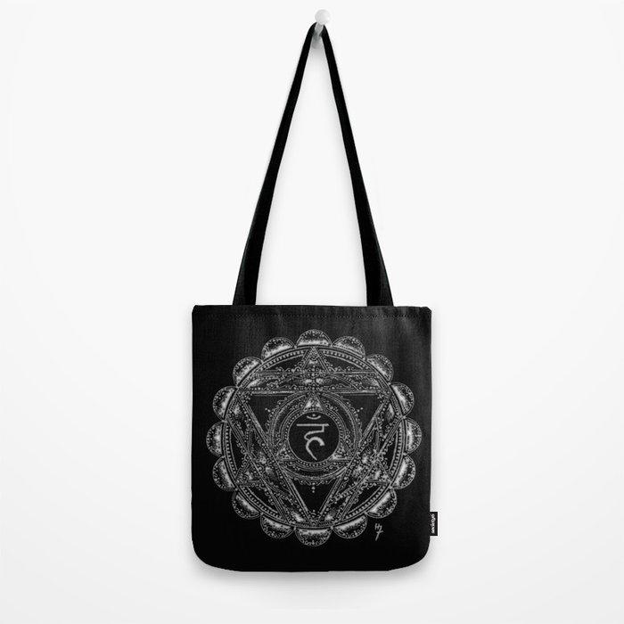 Black and White Throat Chakra Tote Bag