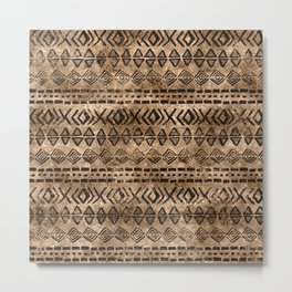 Ancient  Gold and Black Tribal Ethnic  Pattern Metal Print