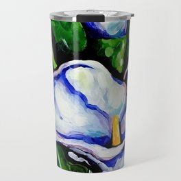 Lily Blue Lilies Flowers Bright Beautiful Colorful Travel Mug