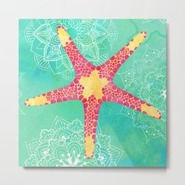 Watercolor Starfish Mandalas Metal Print