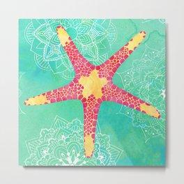 Watercolor Starfish Mandalas Pattern Metal Print