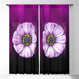 Centred White Flower on Purple Background Blackout Curtain