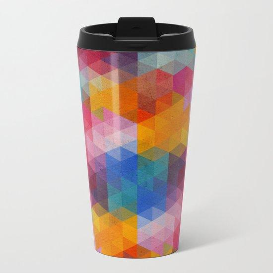 Geometric Color Dynamics Metal Travel Mug