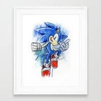 sonic youth Framed Art Prints featuring Sonic by Luke Jonathon Fielding