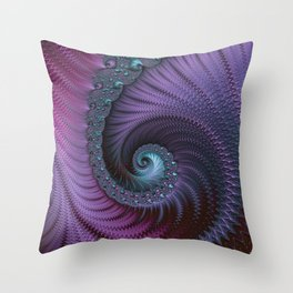 Fantastic Fractal Fantasies Purple And Teal Throw Pillow