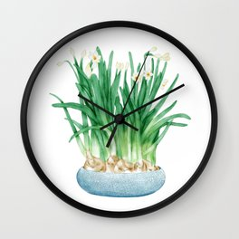Watercolor Illustration of A pot of blooming narcissus Wall Clock