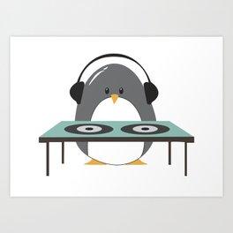 DJ Penguin Art Print