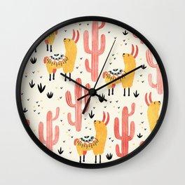 Yellow Llamas Red Cacti Wall Clock