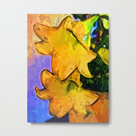 Gold Lilies in a Terracotta Pot Metal Print
