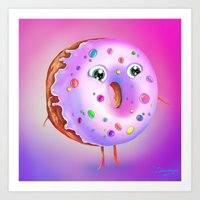 donut Art Prints featuring Donut by Zaksheuskaya