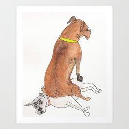 Dogsitting Art Print