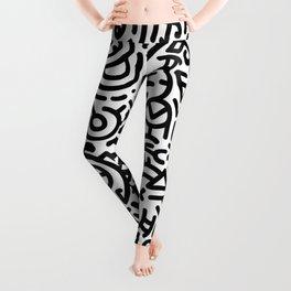 Bold Black Marker Doodle Line Leggings