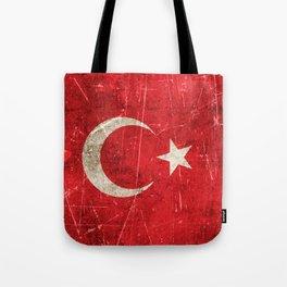 Vintage Aged and Scratched Turkish Flag Tote Bag