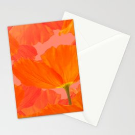 Beautiful Poppies Coral Color Background #decor #society6 #buyart Stationery Cards