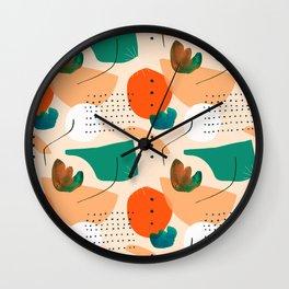 geometric shapes patterns, pattern wallpaper, green leaf pattern, line pattern art Wall Clock