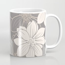 Pink and grey autumn dahlia flowers Coffee Mug