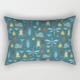 Little Bugs and Mini Beasts on Teal Rectangular Pillow