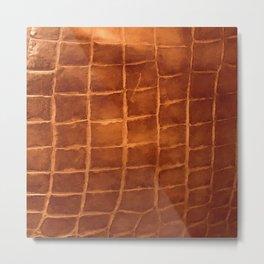 Tobacco-Brown Vintage Leather Textured Pattern Metal Print