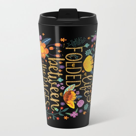 Folded Between the Pages of Books - Floral Black Metal Travel Mug