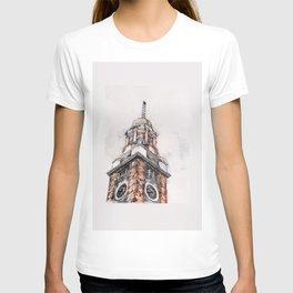 clock tower print 3 T-shirt
