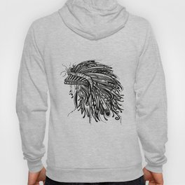 Native American Indian Headdress Warbonnet Black and White Hoody