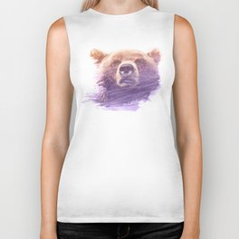 BEAR SUPERIMPOSED WATERCOLOR Biker Tank