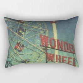Wonder Wheel at Coney Island luna park, New York,  scaned sx-70 Polaroid Rectangular Pillow