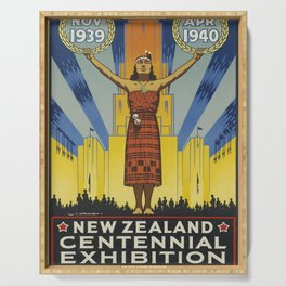 old poster 1939 New Zealand Centennial Exhibion Serving Tray