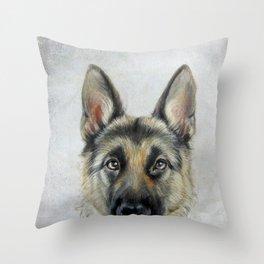 German Shepard Original painting by Miart Print Throw Pillow