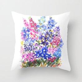 Blue Delphinium Garden Throw Pillow