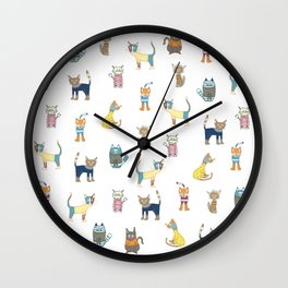 Cats in sweaters Wall Clock