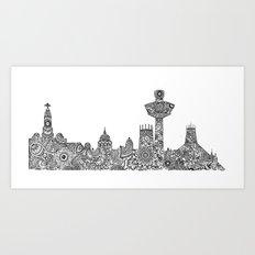 Liverpool City Skyline Art Print