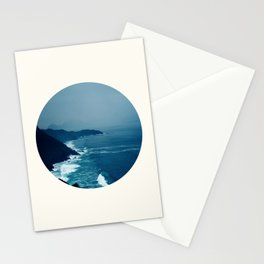Mid Century Modern Round Circle Photo Blue Waters Crashing On Mountainous Shores Stationery Cards