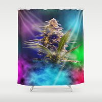cannabis Shower Curtains featuring WetPaint420, Cannabis In The Club by WetPaint420