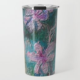 Embossed Impressionist Pink flowers with green background Travel Mug