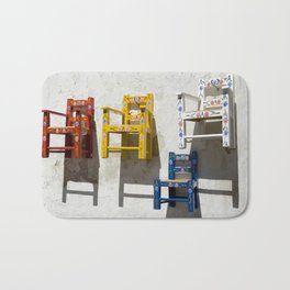 Painted children's chairs typical of the Alentejo, Portugal Bath Mat