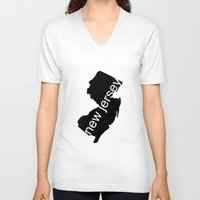 new jersey V-neck T-shirts featuring New Jersey by Isabel Moreno-Garcia