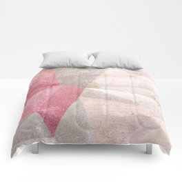 Frozen Geometry - Blush & Champagne #abstractart Comforters