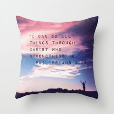 Philippians 4:13 in Nature Throw Pillow